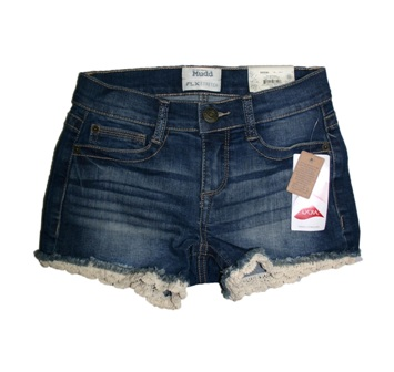 "Mudd Denim Co USA Youth & Ladies Crochet Trim Denim Shortie ""FLX Stretch Technology"""