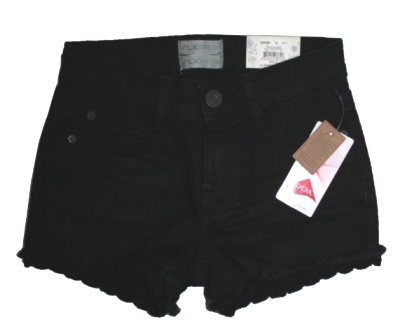 "Mudd Denim Co USA Youth & Ladies Crochet Trim Black Denim Shortie ""FLX Stretch Technology"""