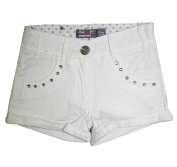 Orchestra France Girls Crystal Stud Shorts - White