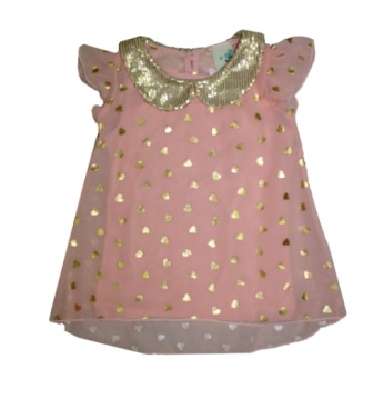 Lily Bleu for Nordstroms Girls Gold Heart Foil Sequin Shift Top
