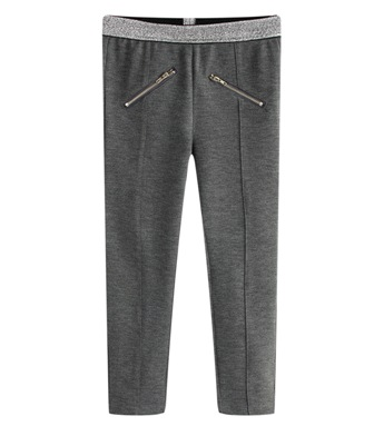 Funky Babe Junior Girls Silver Trim Ponte Zip Leggings   -  Grey