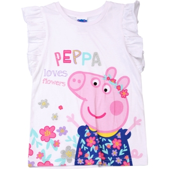 Peppa Pig Licensed Girls Frill Sleeve Tank