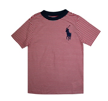 Polo Ralph Lauren Junior Boys Jersey Stripe Big Pony S/S - Red/French Navy