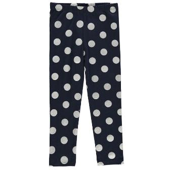 Crafted UK Girls Glitter Polka Dot Leggings - Navy