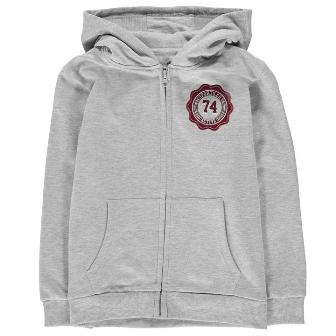 Crafted Junior Boys Sports Co Zip Hoodie - Heather Grey