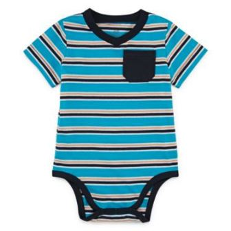 Okie Dokie for JC Penny Infant/Toddler Striped Bodysuit - Scuba Aqua