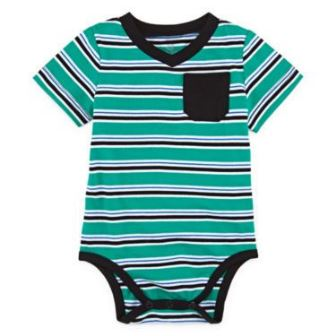 Okie Dokie for JC Penny Infant/Toddler Striped Bodysuit - Azure Green