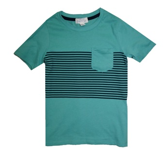 Pumpkin Patch Boys Striped One Pocket Tee - Green