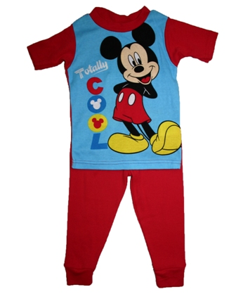 Disney Store Official Licensed Boys Mickey Mouse Fitted Pyjamas - Red/Blue