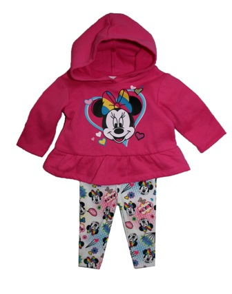054b02219faed Disney Store Official Licensed Baby Girls Minnie Mouse Ruffled Hoodie 2-pc  Set - Hot Pink