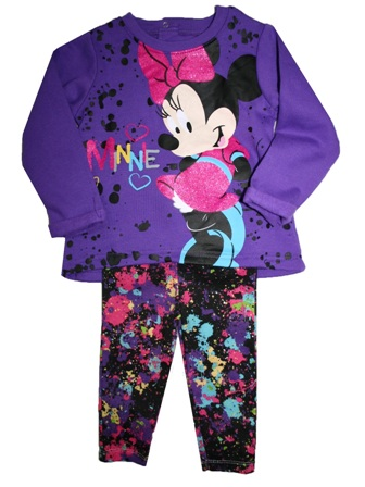 46690e17a8e33 Disney Store Official Licensed Baby Girls Minnie Mouse Glitter Print 2-pc  Set - Purple