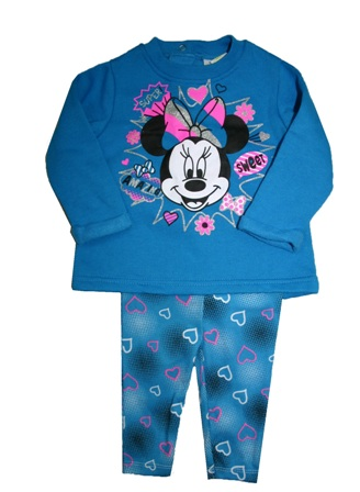 Disney Store Official Licensed Baby Girls Minnie Mouse Glitter Print 2-pc Set  -  Aqua