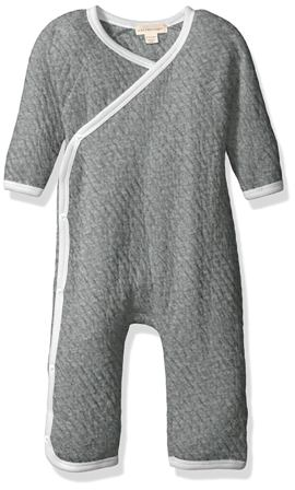 Burt's Bees Gots Certified Infant Matelassè Quilted Organic Cotton Baby Kimono Bodysuit -  Grey