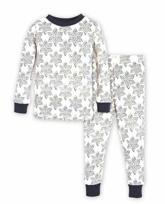 Burt's Bees GOTS Certified Organic Cotton Junior Arctic Star Pyjamas - Creme/Navy