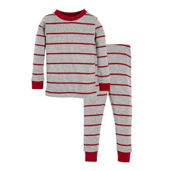 Burt's Bees GOTS Certified Organic Cotton Junior Gingerbread Pyjamas - Red/Grey