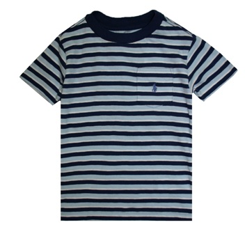 Polo Ralph Lauren Junior Boys Slub Stripe One Pocket S/S - Light Blue/Navy