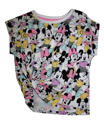 Disney Licensed Girls Minnie Mouse Knot  Front AOP Tee
