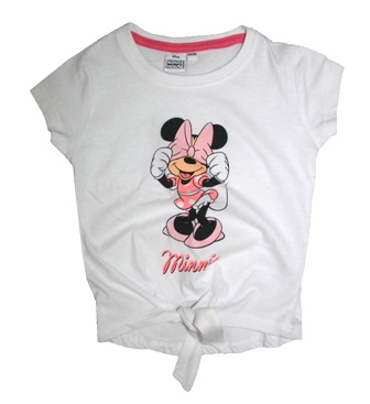 Disney Licensed Girls Minnie Mouse Knot  Front Tee   - White