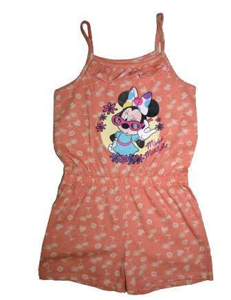 Disney Minnie Mouse Frill Front AOP Playsuit - Coral