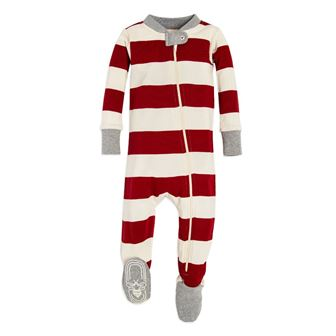 Burt's Bees GOTS Certified Organic Cotton Infant/Toddler Rugby Stripe Sleep Onesie - Red/Creme