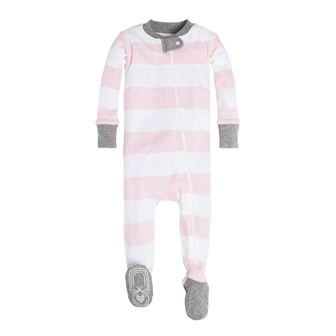 Burt's Bees GOTS Certified Organic Cotton Infant/Toddler Rugby Stripe Sleep Onesie - Pink/White