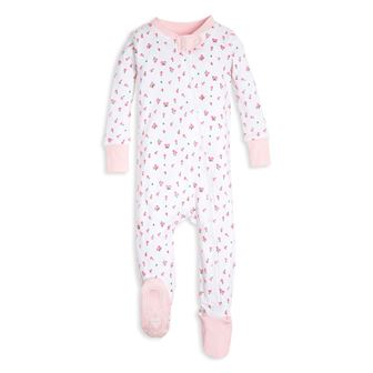 Burt's Bees GOTS Certified Organic Cotton Infant/Toddler Tulip Sleep Onesie - White/Pink