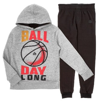RBX USA  Boys 2-pc 'Ball Day Long' Hooded Track Set- Grey/Black