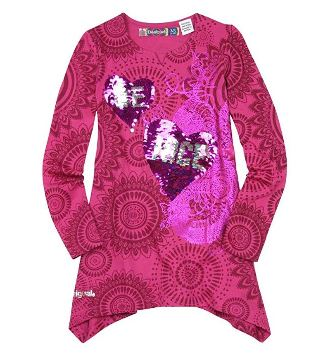 Desigual Girls Quebec Reversible L/S Sequin Tunic Top   - Hot Pink