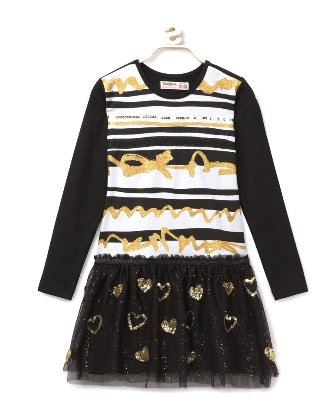Desigual Girls Eva L/S Sequin Tutu Skater Dress   - Black