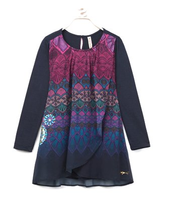 Desigual Girls Magrana L/S Chiffon Oblique Dress   -  Navy