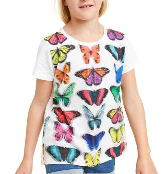 Desigual Girls 3D Butterfly S/S Sequin Mesh Tee  - White