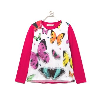 Desigual Girls 3D Butterfly Mesh L/S  - Hot Pink/White