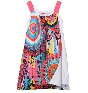 Desigual Girls Harare S/S Chiffon Dress   - White