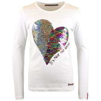 Desigual Girls Saskatchewan Reversible Sequin Heart L/S   - White