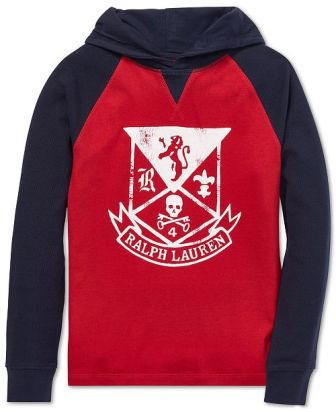 Polo Ralph Lauren Junior Boys Crest Hoodie Raglan L/S - Red/Navy