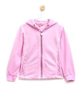 OVS Italy Girls Lace Trim Hoodie - Pink