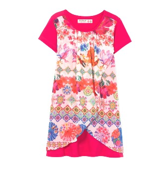 Desigual Girls Combined S/S Chiffon Oblique Dress   -  Hot Pink