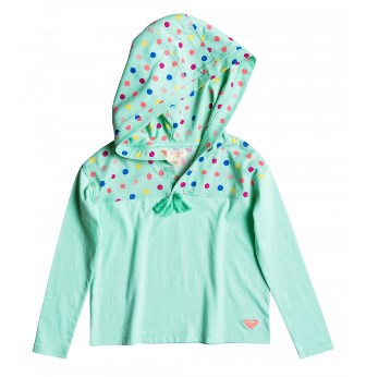 Roxy Girls No Love Around Polka Dot Hood Top - Green
