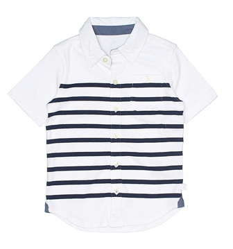 Gap Boys Jersey Striped Button Up Shirt - White