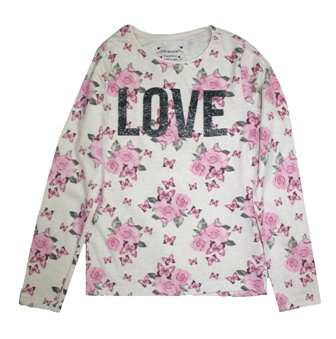 Primark UK Youth Girls LOVE Floral Glitter L/S - Vanilla/Pink