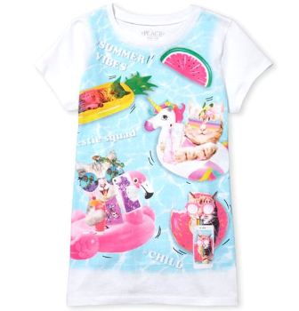 Childrens Place USA Girls Kitty Cats Summer Vibes Tee - White