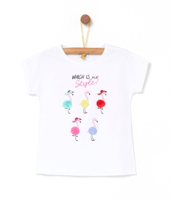 OVS Italy Girls Organic Cotton Flamingo Tassel Tee