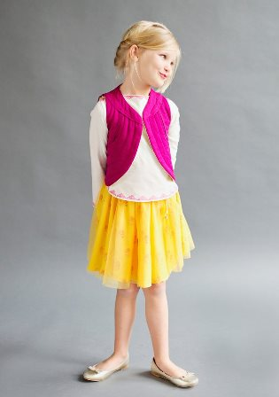 Laili Designer Girls Cotton/Mesh Twirly Skirt  - Yellow