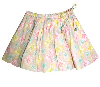 Laili Designer Girls Flower Print Twirly Skirt  - Vanilla Creme