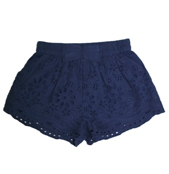 Laili Designer Girls Cotton Lined Broderie Anglaise Short - Navy