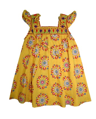 Laili Designer Girls Embroidered AOP Bohemian Dress - Yellow