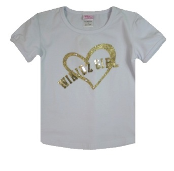 Wikidz Girl Gold Sequin Heart Top - White