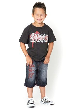 Wikidz Boys Embossed Graffiti Tee -  Charcoal Grey