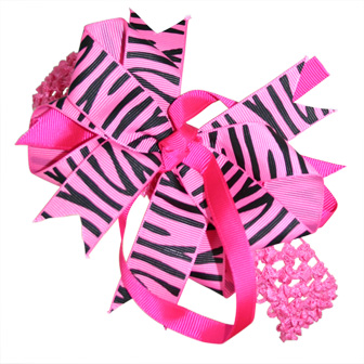 Feral Princess Zebra Print Large Boutique Bow (3 in One Uses) - Hot Pink