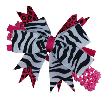 Feral Princess Large Zebra/Hot Pink Boutique Bow (3 in One Uses) - White